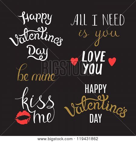 Awesome Hand Lettering Phrases on St. Valentine's Day. Typography Set foe Cards, Banners and Holiday Greetings. poster