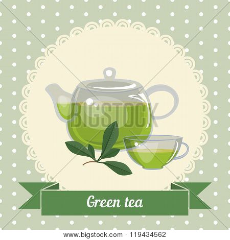 Glass Teapot And Cup With Green Tea