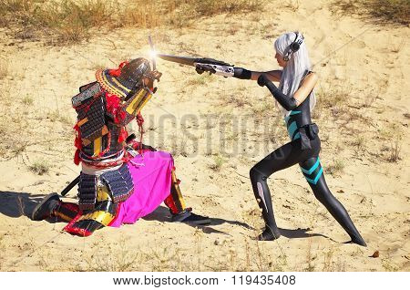 Battle Of Two Characters: A Man In Samurai Costume With Sword And Girl From The Future With Blade. O