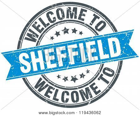 welcome to Sheffield blue round vintage stamp