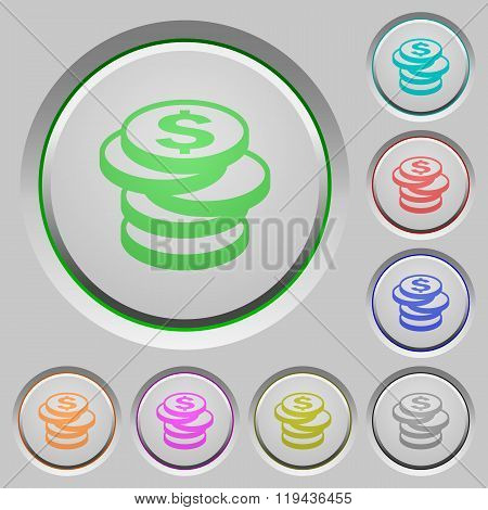 Dollar Coins Push Buttons