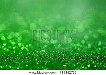 Green Glitter Surface With Green Light Bokeh - It Can Be Used For Background For Special Occasions P
