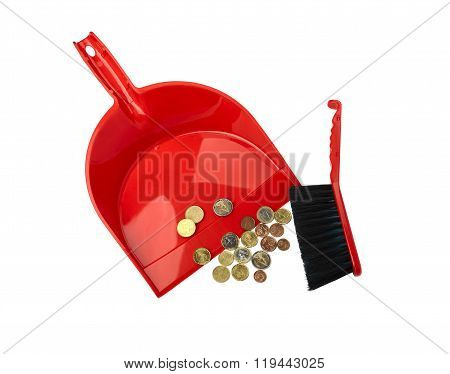 Conceptual view of the financial crisis - dustpan brush and eurocent