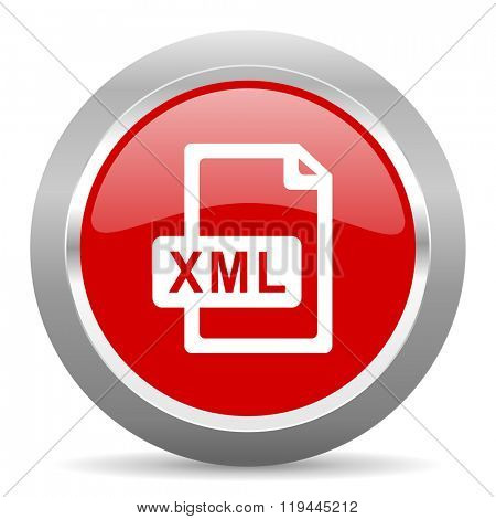 xml file red chrome web circle glossy icon