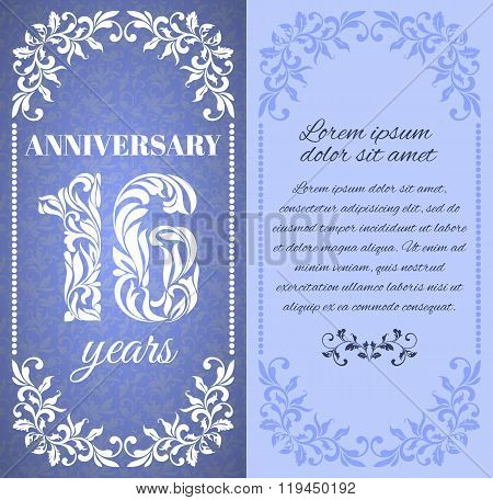 Luxury Template With Floral Frame And A Decorative Pattern For The 16 Years Anniversary. There Is A