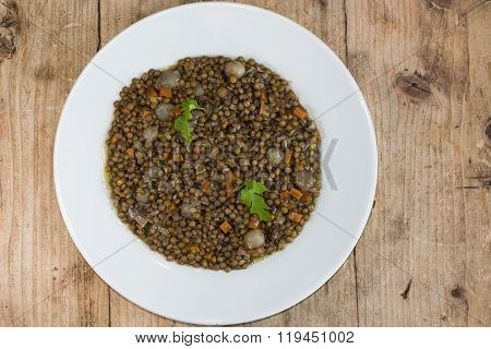 Green Lentils With Vegetables, On Plate From Above.