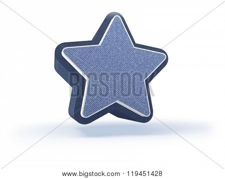 Star Shopping Icon In Blueish Denim Look
