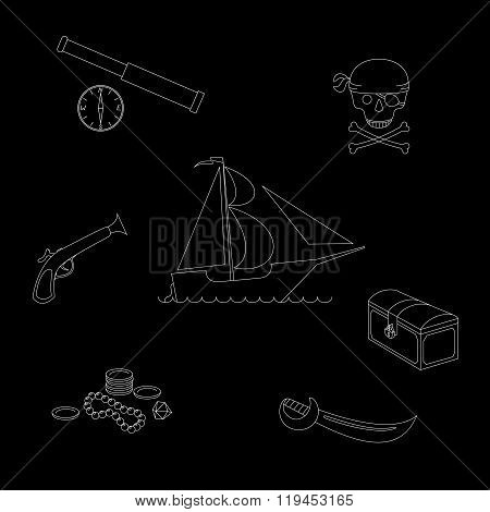 Vector illustration pirate theme outline figures set against black background