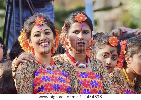 Young Girl Dancer's Jouful Expression At Holi (spring) Festival In Kolkata.