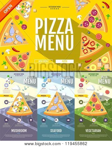 Flat Style Pizza Menu Concept Web Site Design. Corporate Identity.