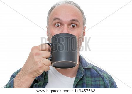Surprised Person With Cup In Front Of Face