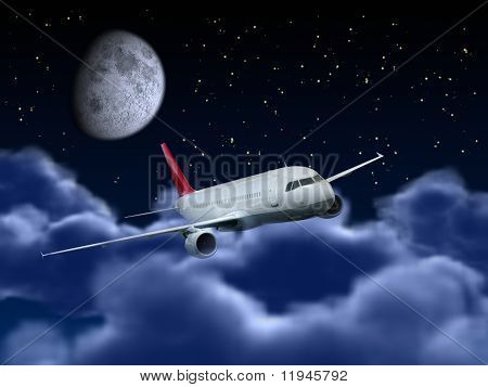 Airplane Flying In The Night Sky