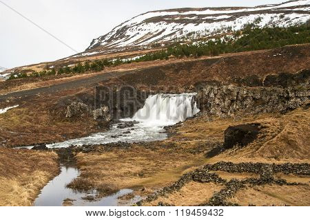 Long Time Exposure Of A Waterfall In Iceland