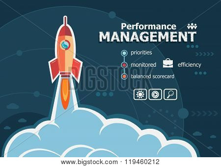 Performance management design and concept background with rocket. Project Performance management concepts for web banner and printed materials. poster