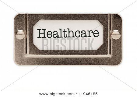 Etiqueta de gaveta arquivo saúde isolada em um fundo branco.