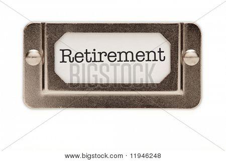 Retirement File Drawer Label Isolated on a White Background.