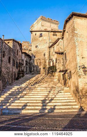 The Staircase In The Center Of Sermoneta, A Medieval Village In Lazio, Italy