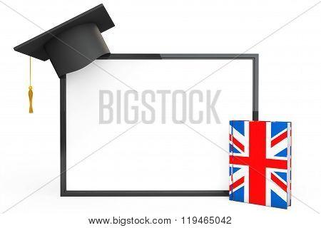 English Learning Concept. Graduation Cap, Chalkboard And English Grammar Book
