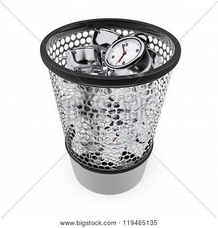 Wasting Time Concept. Alarm Clocks In The Trash Bin
