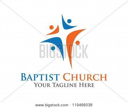Abstract Christian Cross Logo Design Vector Template. Baptist Chruch Symbol Vector Design Template.
