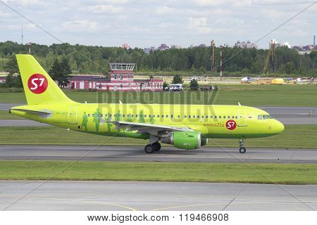 The plane of the company S7 Siberia Airlines Airbus A319 (VP-BHP) on a taxiway. Pulkovo, St. Petersb