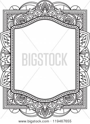 Ethnic Template For Design Wedding Invitations And Greeting Cards. Henna Flowers Mehndi Elements Of