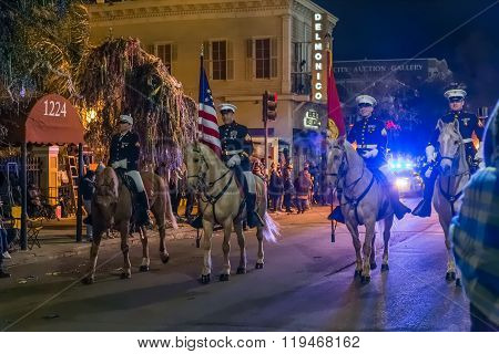 New Orleans, La/usa - Circa February 2016: Police Riding Horses During Mardi Gras In New Orleans,  L