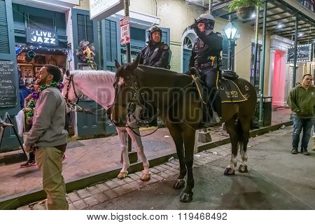 New Orleans, La/usa - Circa February 2016: Mounted Police Riding Horses During Mardi Gras In New Orl