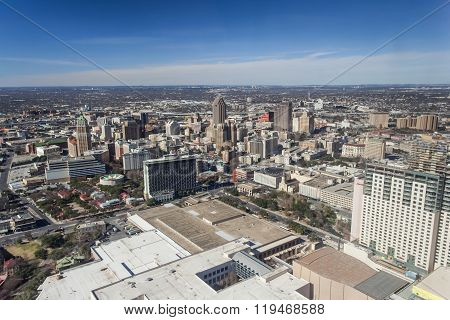 San Antonio, Tx/usa - Circa January 2008: Downtown San Antonio, Texas As Seen From Tower Of The Amer