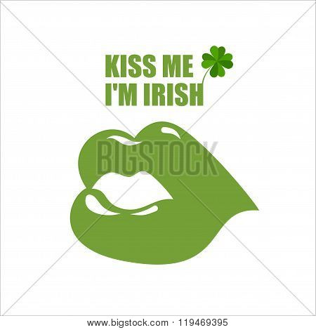 Green Lips. Green Kiss And Clover, Shamrock. Kiss Me I'm Irish. Merry Logo For Saint Patrick's Holid