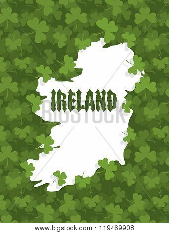 Map Of Ireland. Gothic Font And Clover. Country Abounds In Shamrock. Grass Texture Background