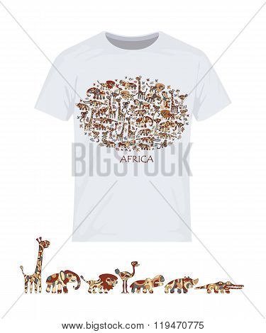 Animals of Africa. Vector design for printing on T-shirts