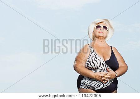 Senior woman wearing a swimming costume