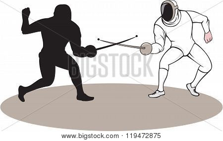 Illustration of swordsmen fencer fencing viewed from side set on isolated white background done in cartoon style.