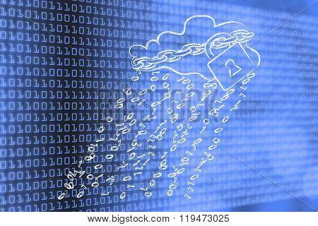 Cloud With Binary Code Rain And Security Lock & Chain