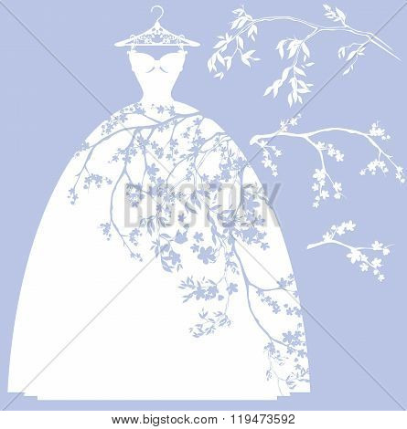 Wedding Dress With Flower Branches
