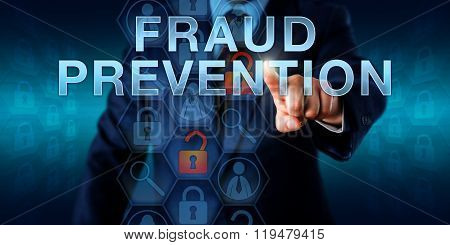 Forensic examiner is pushing FRAUD PREVENTION on a virtual screen. Business services metaphor and law enforcement concept for countermeasures to internet fraud identity theft and computer crime. poster