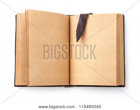 Open spread old book with blank page and leather bookmark. Isolated on white background