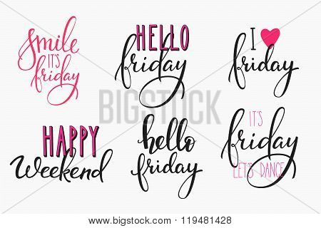 Hello Friday Lettering Postcard Set.