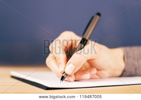 Girl Writes Notes In Diary On Wooden Table, Close Up