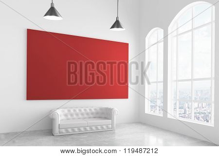Big Red Poster In Modern Light Room With White Sofa And Big Window, Mock Up