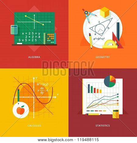 Set of flat design illustration concepts for algebra, geometry, calculus, statistics.  Education and