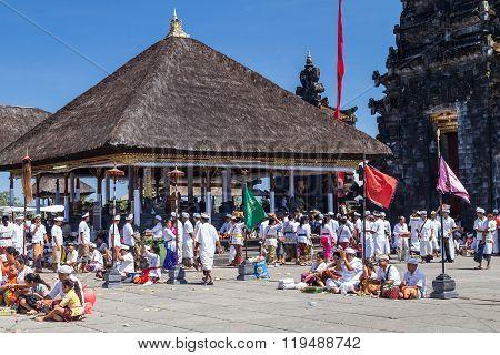 Village Of Besakih, Bali/indonesia - Circa October 2015: People Praying In Pura Besakih Balinese  Te