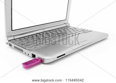 Netbook With White Monitor And Usb