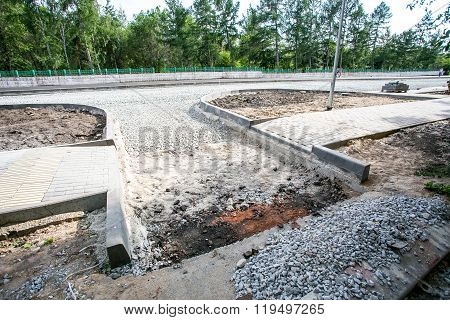 Road construction site, stones and gravel