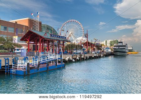 Chicago, Il/usa - Circa July 2015: Navy Pier In Chicago,  Illinois