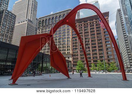 Chicago, Il/usa - Circa July 2015: Flamingo Sculpture In Downtown Chicago,  Illinois