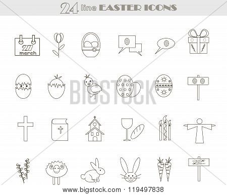 Easter black and white line icons, vector