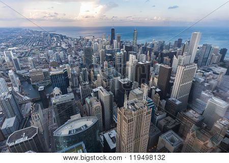 Chicago, Il/usa - Circa July 2015: View Of Downtown Chicago From Willis  Tower