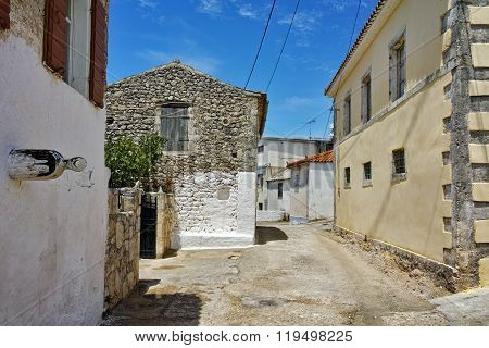 Street and old houses in Ag. Leon village, Zakynthos, Ionian islands, Greece